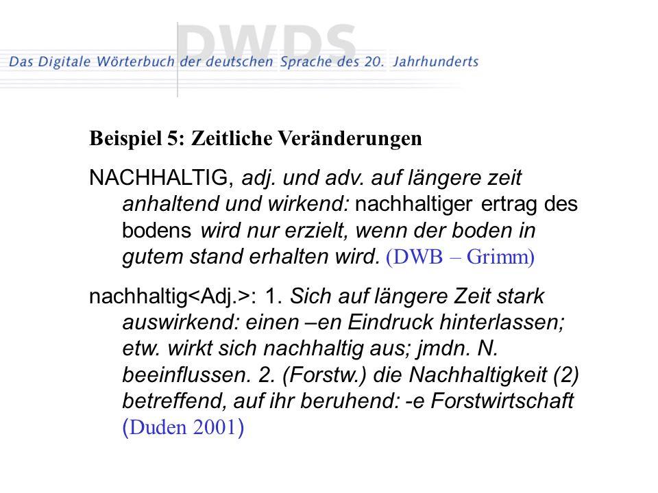 Beispiel 5: Zeitliche Veränderungen NACHHALTIG, adj.