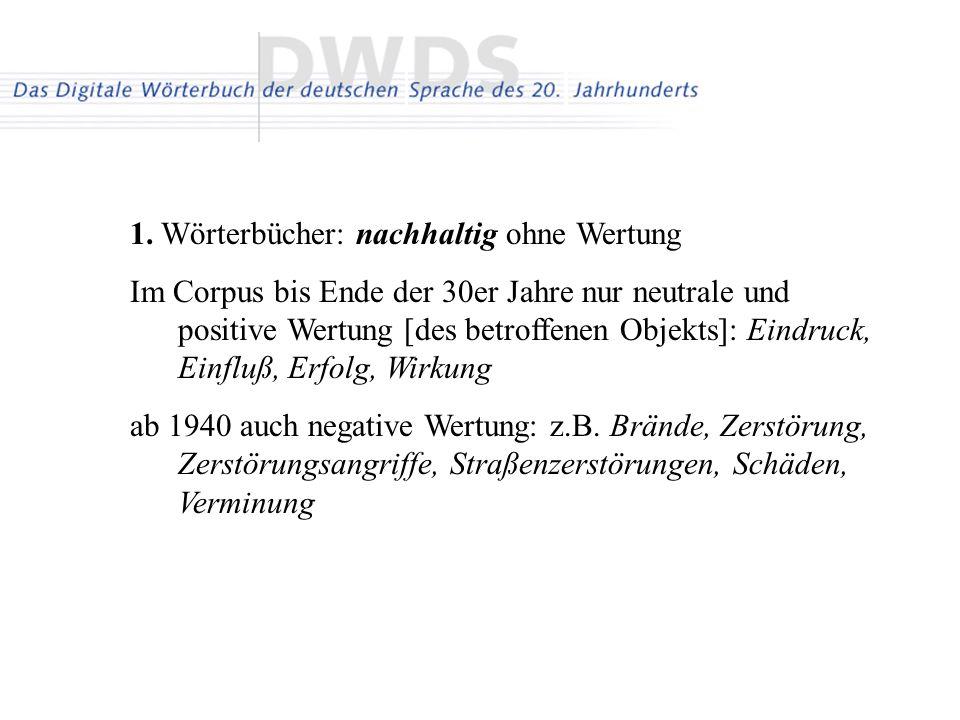 1. Wörterbücher: nachhaltig ohne Wertung Im Corpus bis Ende der 30er Jahre nur neutrale und positive Wertung [des betroffenen Objekts]: Eindruck, Einf