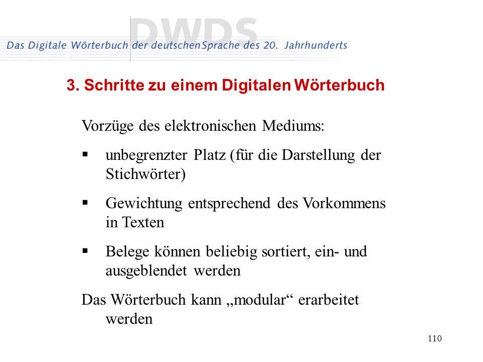 110 3. Schritte zu einem Digitalen Wörterbuch Vorzüge des elektronischen Mediums: unbegrenzter Platz (für die Darstellung der Stichwörter) Gewichtung