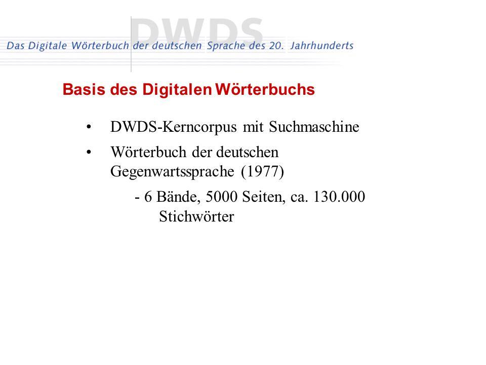 DWDS-Kerncorpus mit Suchmaschine Wörterbuch der deutschen Gegenwartssprache (1977) - 6 Bände, 5000 Seiten, ca. 130.000 Stichwörter Basis des Digitalen