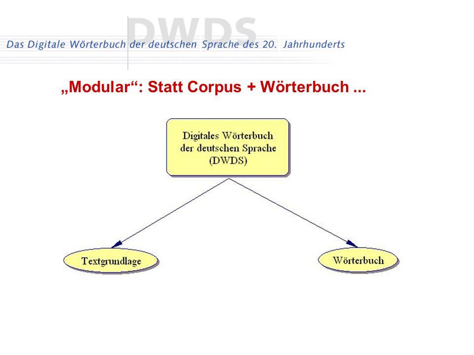 Modular: Statt Corpus + Wörterbuch...