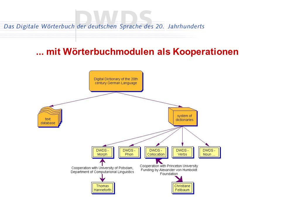 ... mit Wörterbuchmodulen als Kooperationen