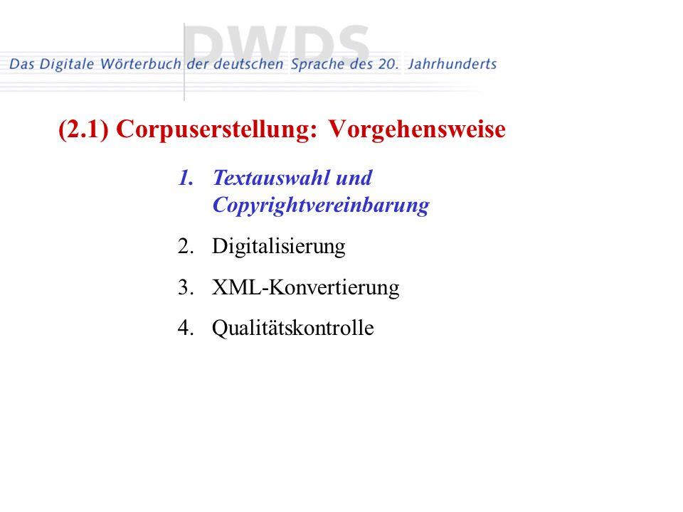 1.Textauswahl und Copyrightvereinbarung 2.Digitalisierung 3.XML-Konvertierung 4.Qualitätskontrolle (2.1) Corpuserstellung: Vorgehensweise