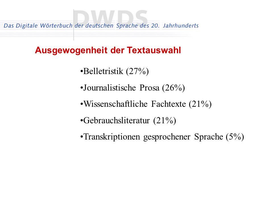 Belletristik (27%) Journalistische Prosa (26%) Wissenschaftliche Fachtexte (21%) Gebrauchsliteratur (21%) Transkriptionen gesprochener Sprache (5%) Ausgewogenheit der Textauswahl