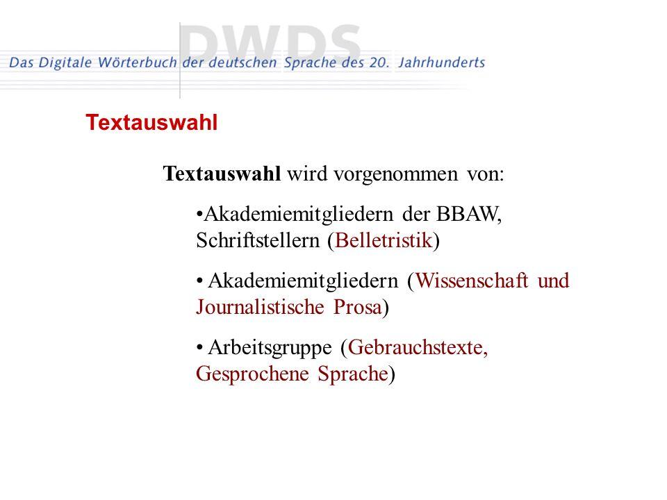 Textauswahl wird vorgenommen von: Akademiemitgliedern der BBAW, Schriftstellern (Belletristik) Akademiemitgliedern (Wissenschaft und Journalistische Prosa) Arbeitsgruppe (Gebrauchstexte, Gesprochene Sprache) Textauswahl