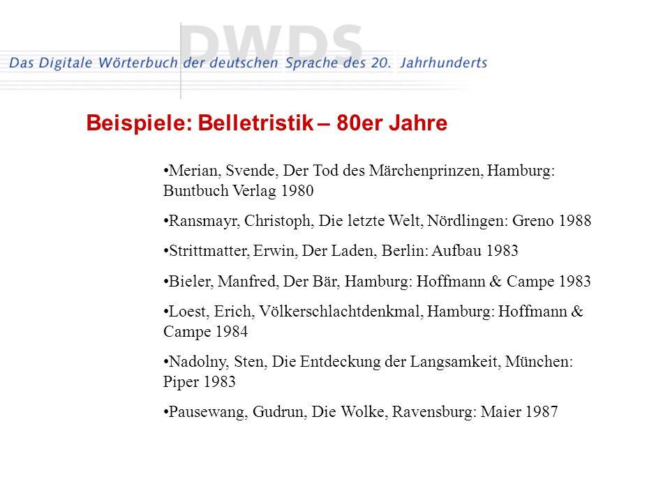 Merian, Svende, Der Tod des Märchenprinzen, Hamburg: Buntbuch Verlag 1980 Ransmayr, Christoph, Die letzte Welt, Nördlingen: Greno 1988 Strittmatter, Erwin, Der Laden, Berlin: Aufbau 1983 Bieler, Manfred, Der Bär, Hamburg: Hoffmann & Campe 1983 Loest, Erich, Völkerschlachtdenkmal, Hamburg: Hoffmann & Campe 1984 Nadolny, Sten, Die Entdeckung der Langsamkeit, München: Piper 1983 Pausewang, Gudrun, Die Wolke, Ravensburg: Maier 1987 Beispiele: Belletristik – 80er Jahre