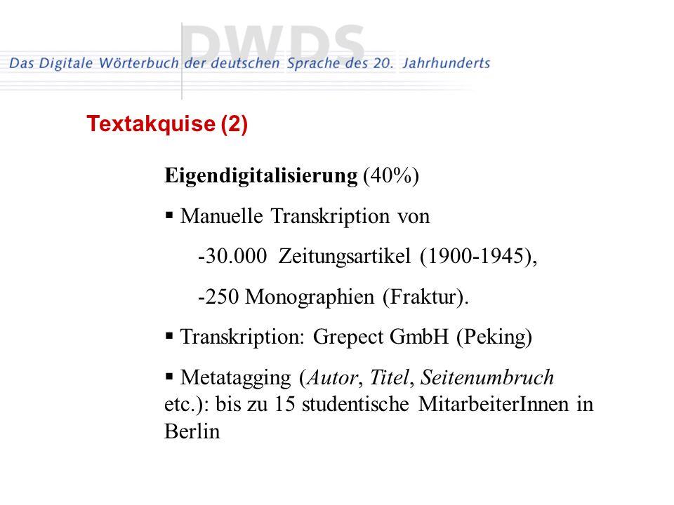 Eigendigitalisierung (40%) Manuelle Transkription von -30.000 Zeitungsartikel (1900-1945), -250 Monographien (Fraktur).