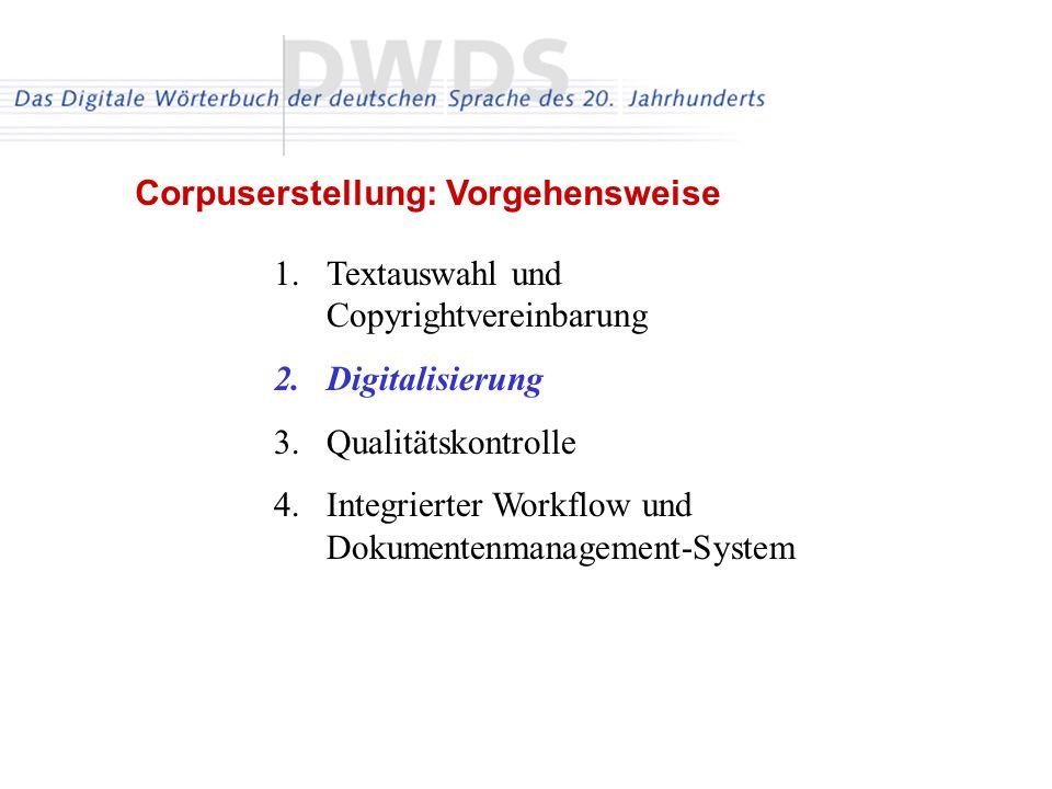 1.Textauswahl und Copyrightvereinbarung 2.Digitalisierung 3.Qualitätskontrolle 4.Integrierter Workflow und Dokumentenmanagement-System Corpuserstellun