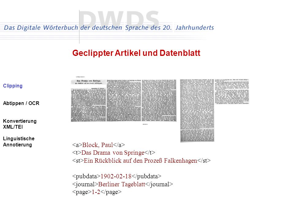 Clipping Abtippen / OCR Konvertierung XML/TEI Linguistische Annotierung Geclippter Artikel und Datenblatt Block, Paul Das Drama von Springe Ein Rückbl