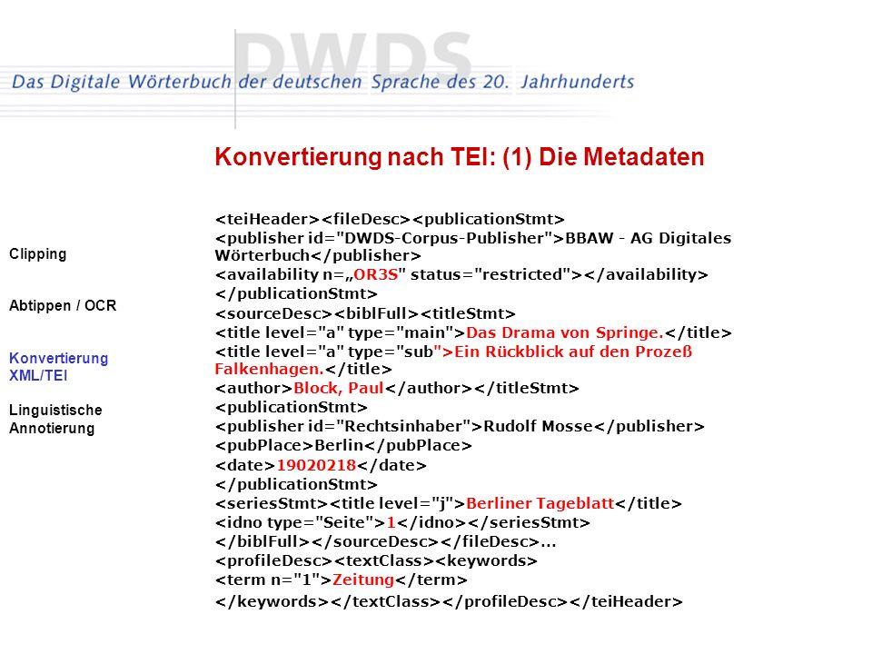 Clipping Abtippen / OCR Konvertierung XML/TEI Linguistische Annotierung Konvertierung nach TEI: (1) Die Metadaten BBAW - AG Digitales Wörterbuch Das Drama von Springe.