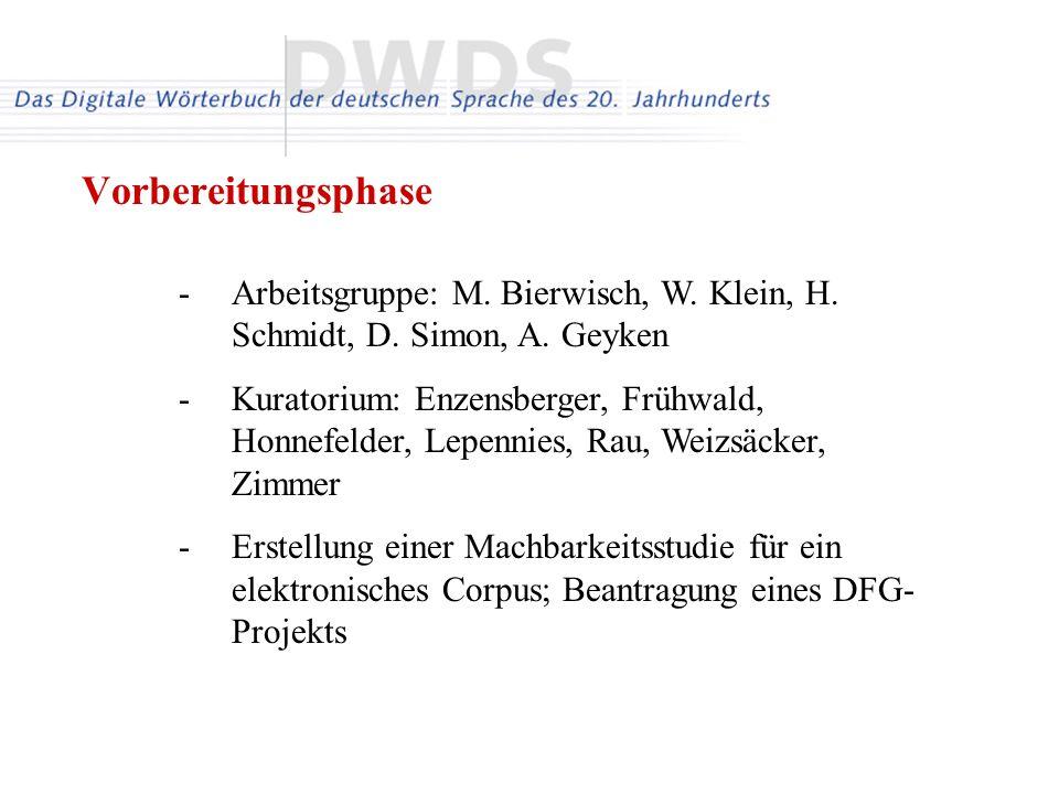 -Arbeitsgruppe: M. Bierwisch, W. Klein, H. Schmidt, D. Simon, A. Geyken -Kuratorium: Enzensberger, Frühwald, Honnefelder, Lepennies, Rau, Weizsäcker,