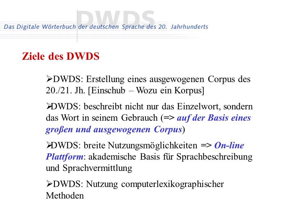 DWDS: Erstellung eines ausgewogenen Corpus des 20./21. Jh. [Einschub – Wozu ein Korpus] DWDS: beschreibt nicht nur das Einzelwort, sondern das Wort in