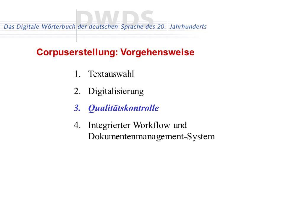 1.Textauswahl 2.Digitalisierung 3.Qualitätskontrolle 4.Integrierter Workflow und Dokumentenmanagement-System Corpuserstellung: Vorgehensweise
