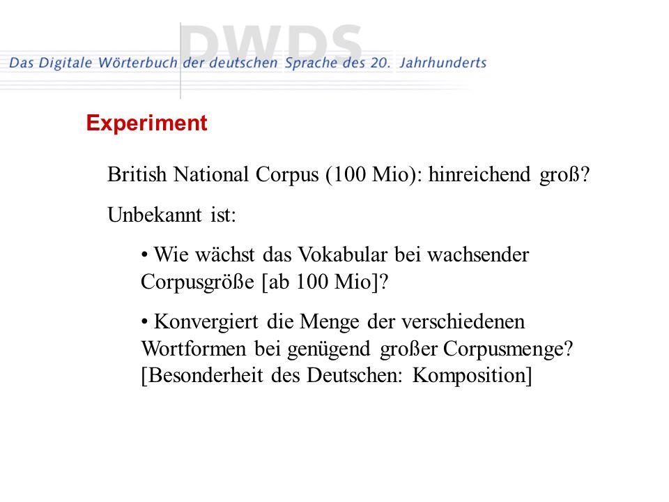 British National Corpus (100 Mio): hinreichend groß? Unbekannt ist: Wie wächst das Vokabular bei wachsender Corpusgröße [ab 100 Mio]? Konvergiert die