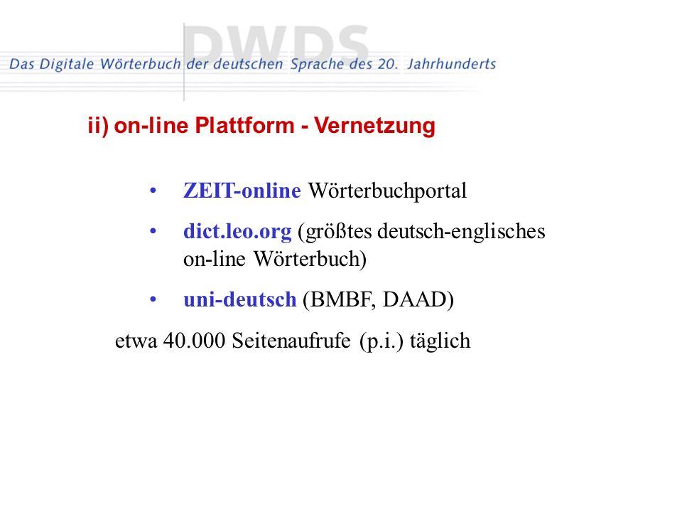 ZEIT-online Wörterbuchportal dict.leo.org (größtes deutsch-englisches on-line Wörterbuch) uni-deutsch (BMBF, DAAD) etwa 40.000 Seitenaufrufe (p.i.) täglich ii) on-line Plattform - Vernetzung