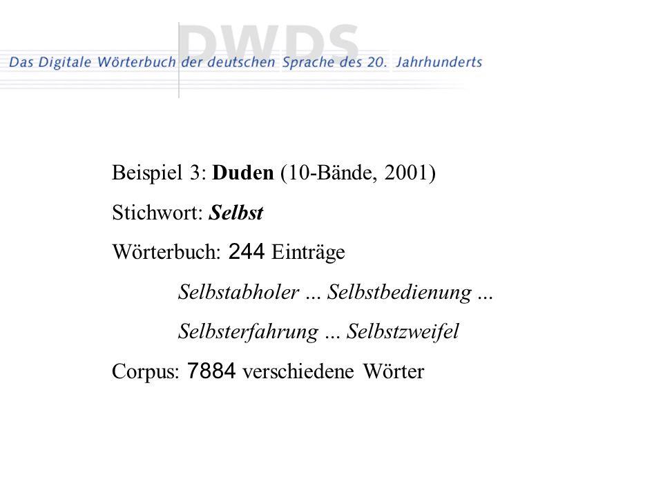 Beispiel 3: Duden (10-Bände, 2001) Stichwort: Selbst Wörterbuch: 244 Einträge Selbstabholer... Selbstbedienung... Selbsterfahrung... Selbstzweifel Cor
