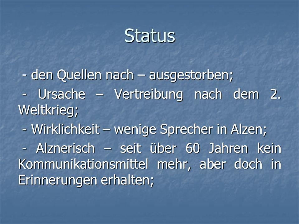 Status - den Quellen nach – ausgestorben; - den Quellen nach – ausgestorben; - Ursache – Vertreibung nach dem 2. Weltkrieg; - Ursache – Vertreibung na