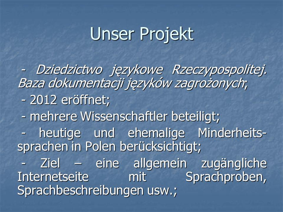 Unser Projekt - Dziedzictwo językowe Rzeczypospolitej.