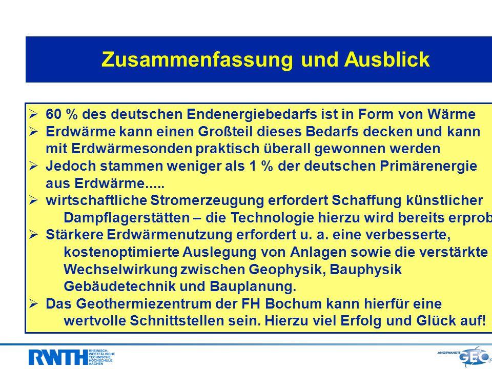 Zusammenfassung und Ausblick 60 % des deutschen Endenergiebedarfs ist in Form von Wärme Erdwärme kann einen Großteil dieses Bedarfs decken und kann mi