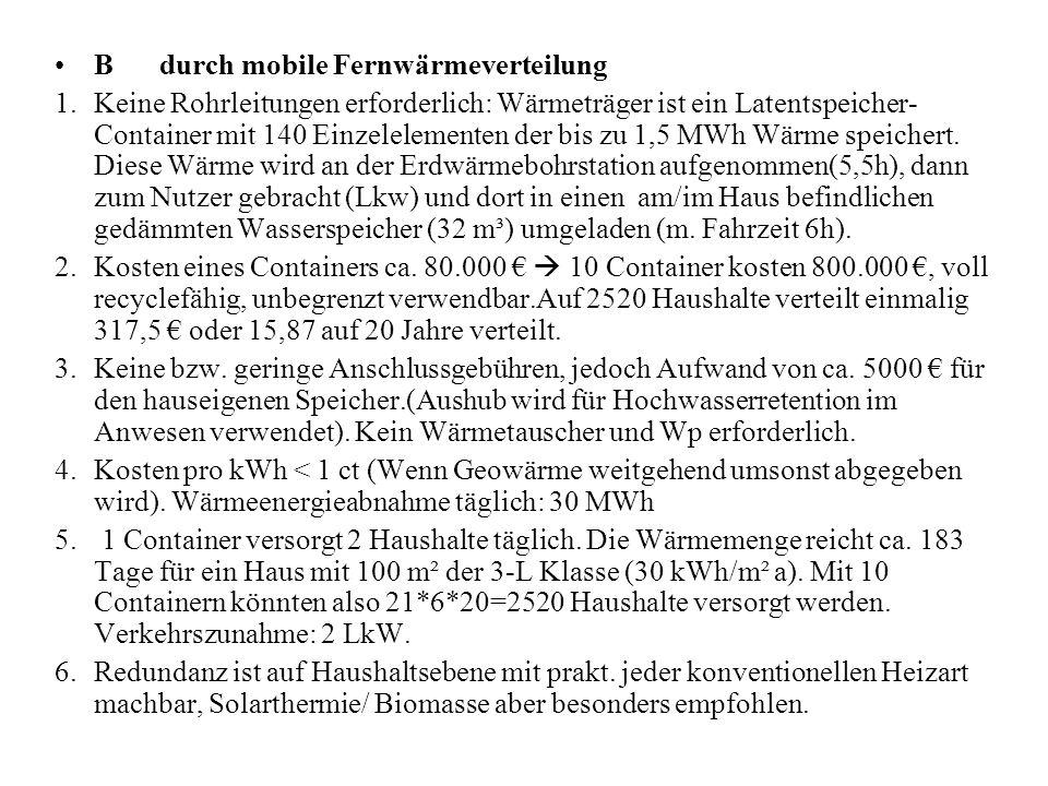 Bdurch mobile Fernwärmeverteilung 1.Keine Rohrleitungen erforderlich: Wärmeträger ist ein Latentspeicher- Container mit 140 Einzelelementen der bis zu