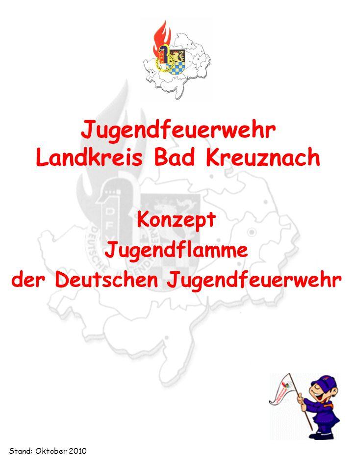 Jugendfeuerwehr Landkreis Bad Kreuznach Konzept Jugendflamme Jugendfeuerwehr Landkreis Bad Kreuznach Konzept Jugendflamme Stand: Oktober 2010 Abnahme Jugendflamme Stufe I Die Abnahme erfolgt auf Orts- bzw.