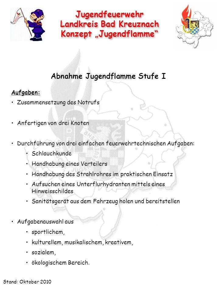 Jugendfeuerwehr Landkreis Bad Kreuznach Konzept Jugendflamme Jugendfeuerwehr Landkreis Bad Kreuznach Konzept Jugendflamme Stand: Oktober 2010 Abnahme