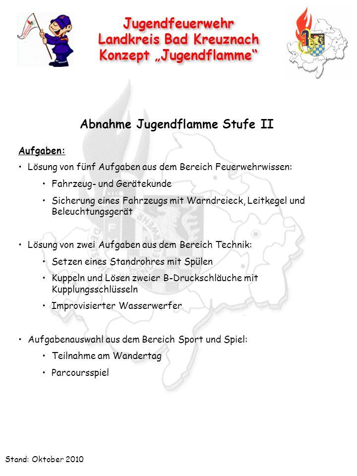 Jugendfeuerwehr Landkreis Bad Kreuznach Konzept Jugendflamme Jugendfeuerwehr Landkreis Bad Kreuznach Konzept Jugendflamme Stand: Oktober 2010 Aufgaben