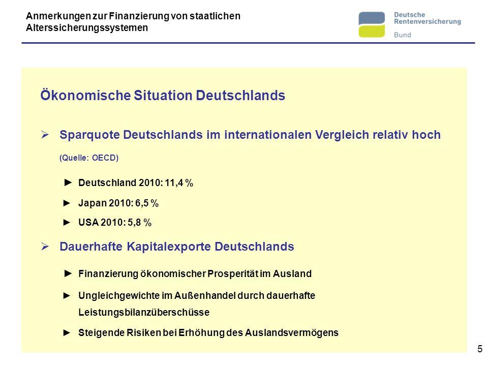 5 Ökonomische Situation Deutschlands Sparquote Deutschlands im internationalen Vergleich relativ hoch (Quelle: OECD) Deutschland 2010: 11,4 % Japan 20