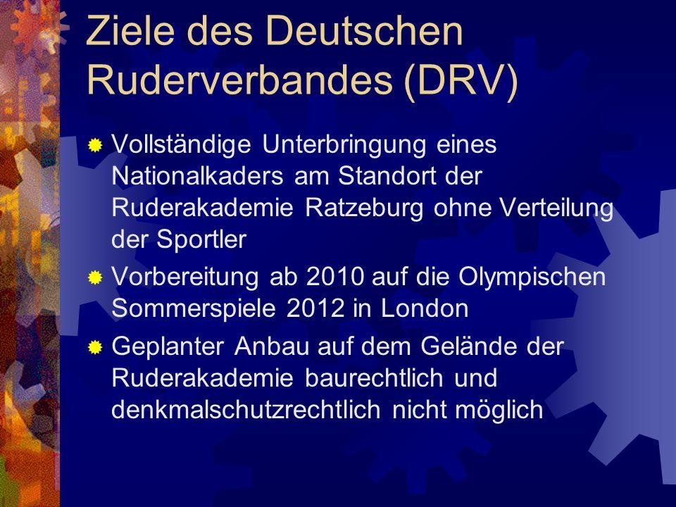 Ziele des Deutschen Ruderverbandes (DRV) Vollständige Unterbringung eines Nationalkaders am Standort der Ruderakademie Ratzeburg ohne Verteilung der S