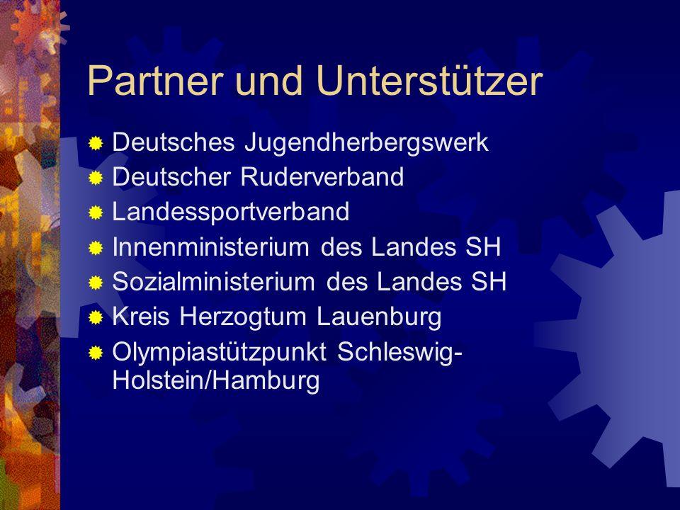 Partner und Unterstützer Deutsches Jugendherbergswerk Deutscher Ruderverband Landessportverband Innenministerium des Landes SH Sozialministerium des L