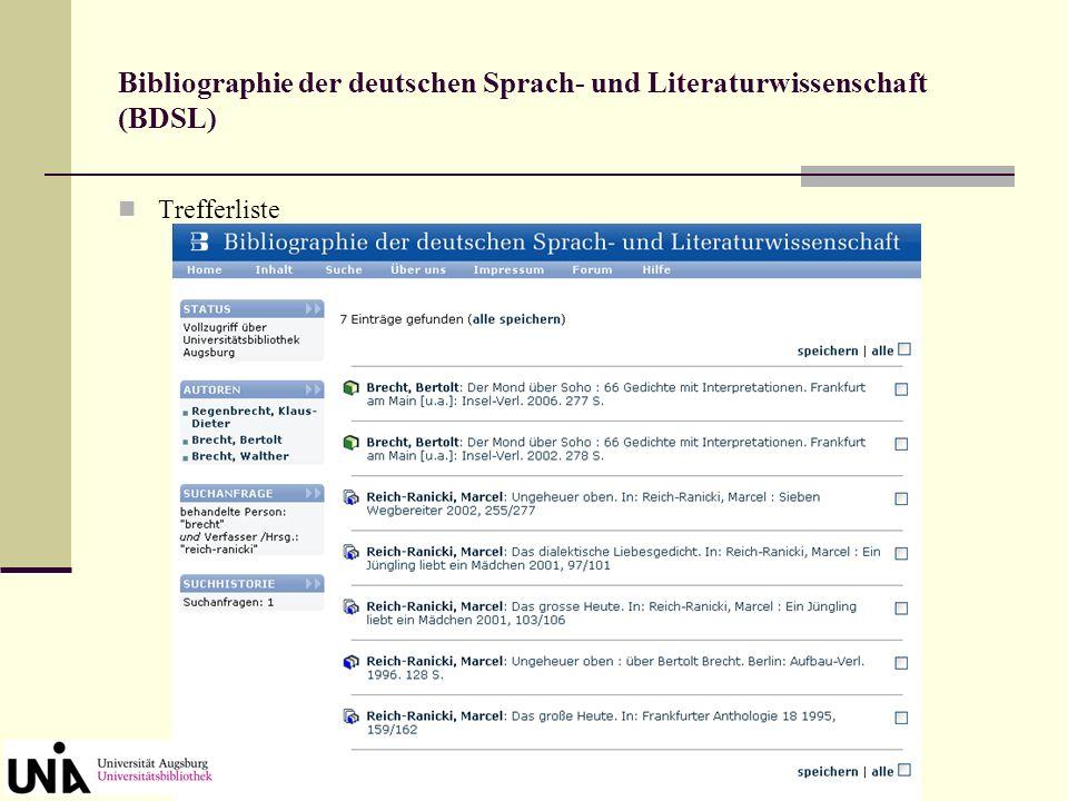 Bibliographie der deutschen Sprach- und Literaturwissenschaft (BDSL) Germanistische Bücher, Aufsätze und Rezensionen aus den Jahren 1985-2013