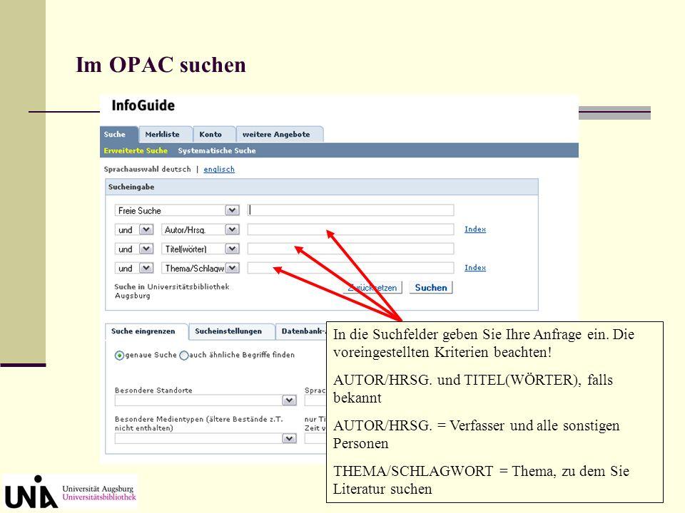 OPAC-Kennung und Passwort Zum Bestellen und Vormerken über den OPAC benötigen Sie Ihre Benutzernummer (Studentenausweis) und ein Passwort.