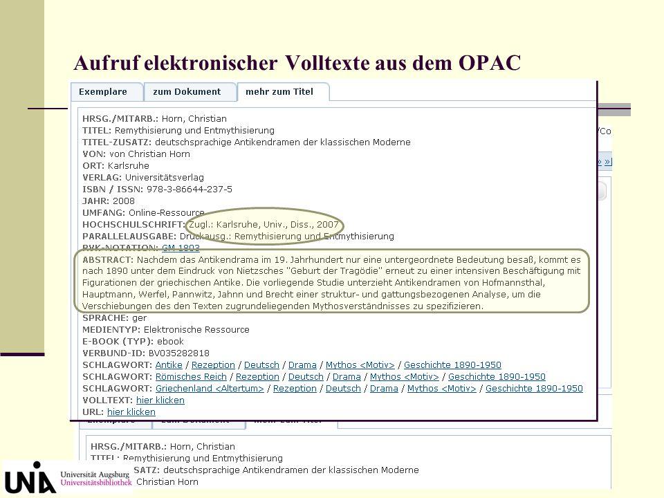 Aufruf elektronischer Volltexte aus dem OPAC