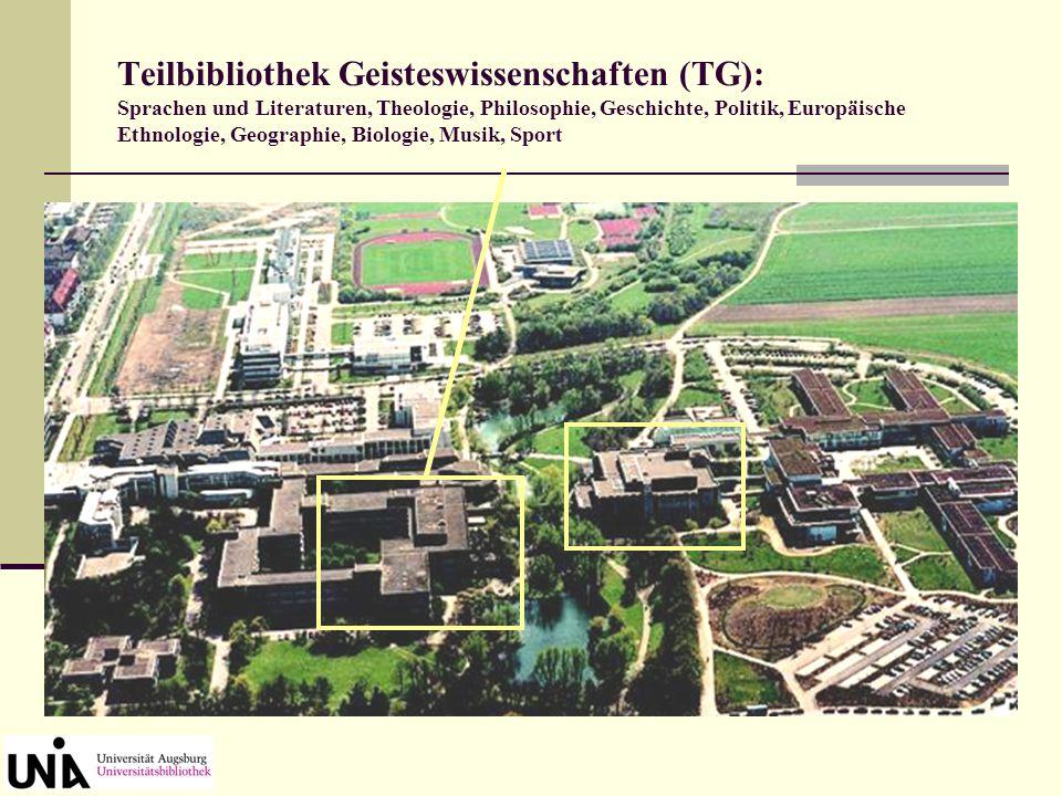 Die UB Augsburg besteht aus folgenden Einheiten: Zentralbibliothek (ZB): Zentrale Ausleihe und Information, Magazin, Lehrbuchsammlung Geisteswissenschaften, Nachschlagewerke, Bibliographien, Zeitungslesesaal, Medienwesen, Kunst, Archäologie