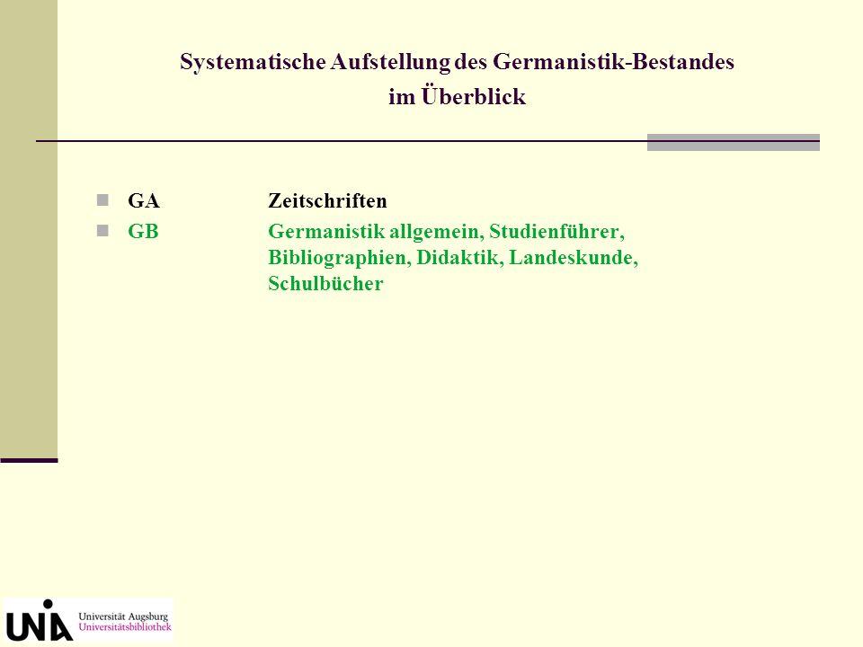 Systematische Aufstellung des Germanistik-Bestandes im Überblick GAZeitschriften