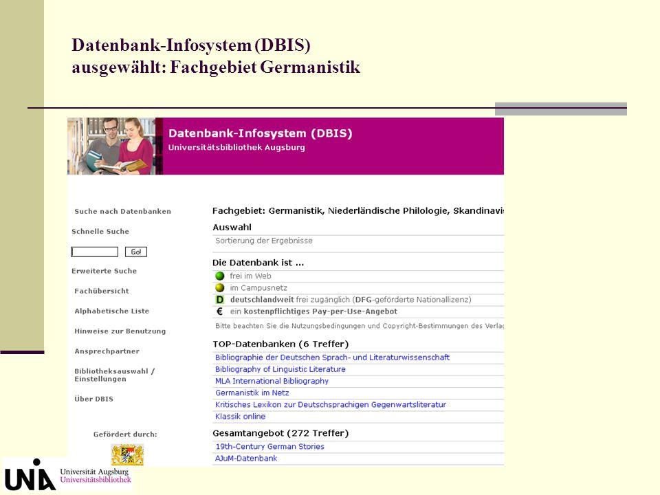 Recherche in Datenbanken Auf die größeren Datenbanken, die für das Fach Germanistik relevant sind, kann campusweit von jedem PC aus zugegriffen werden, auch von zu Hause aus, wenn man beim Rechenzentrum angemeldet ist.
