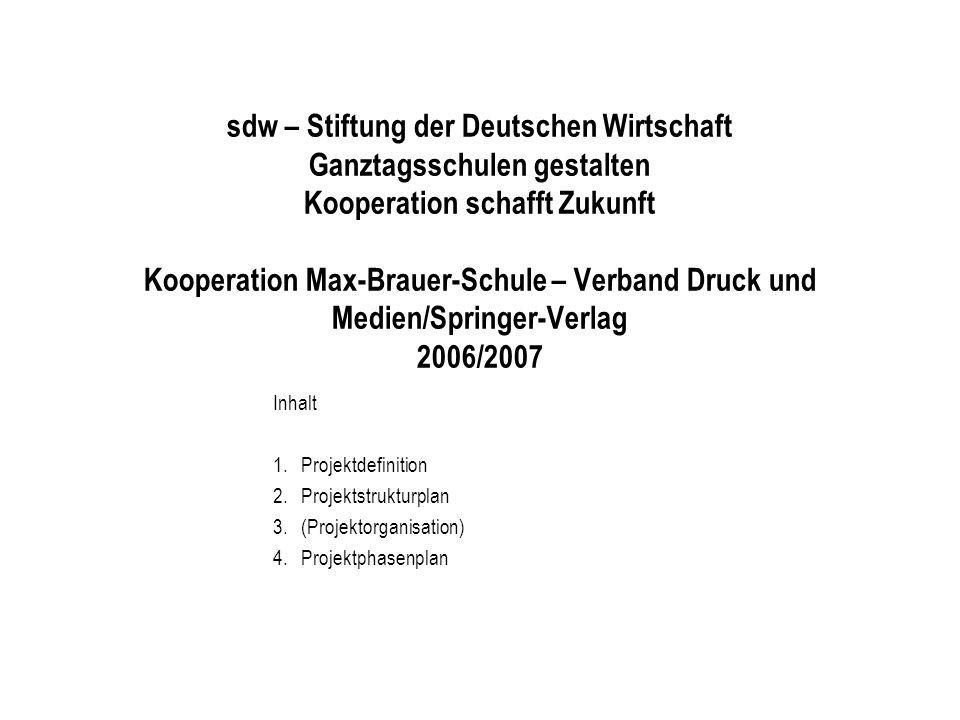 sdw – Stiftung der Deutschen Wirtschaft Ganztagsschulen gestalten Kooperation schafft Zukunft Kooperation Max-Brauer-Schule – Verband Druck und Medien