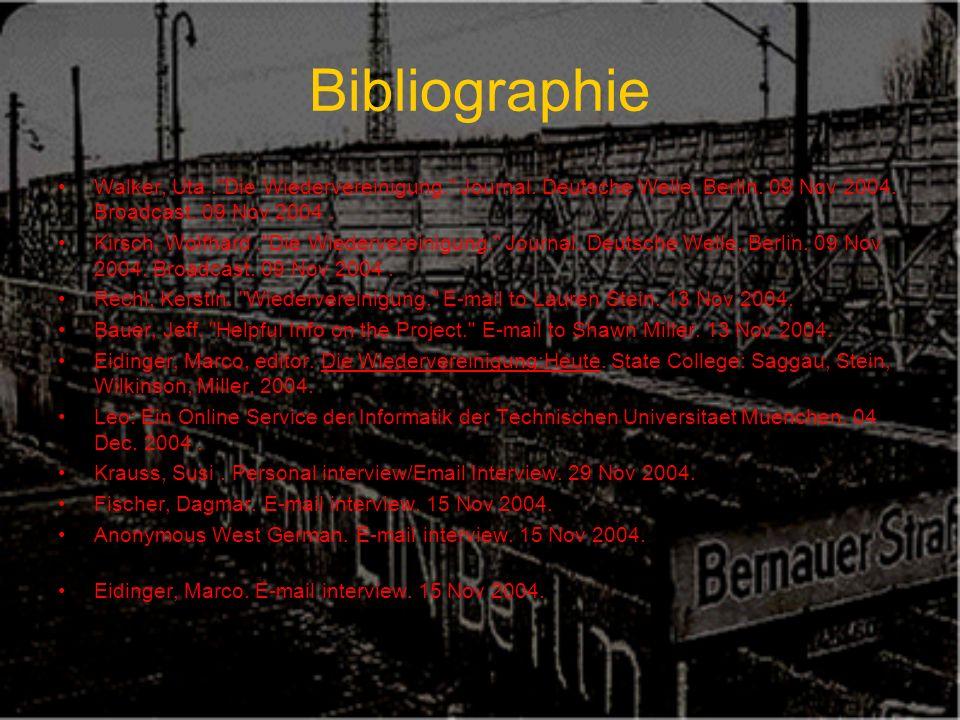 Bibliographie Walker, Uta. Die Wiedervereinigung. Journal.