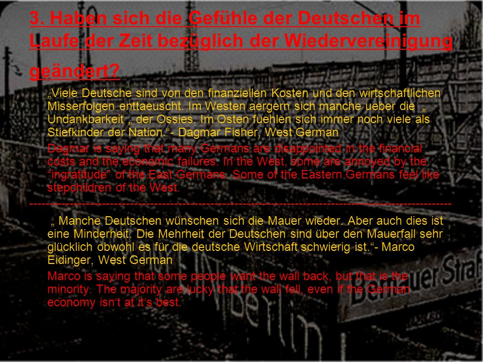 3. Haben sich die Gefühle der Deutschen im Laufe der Zeit bezüglich der Wiedervereinigung geändert.