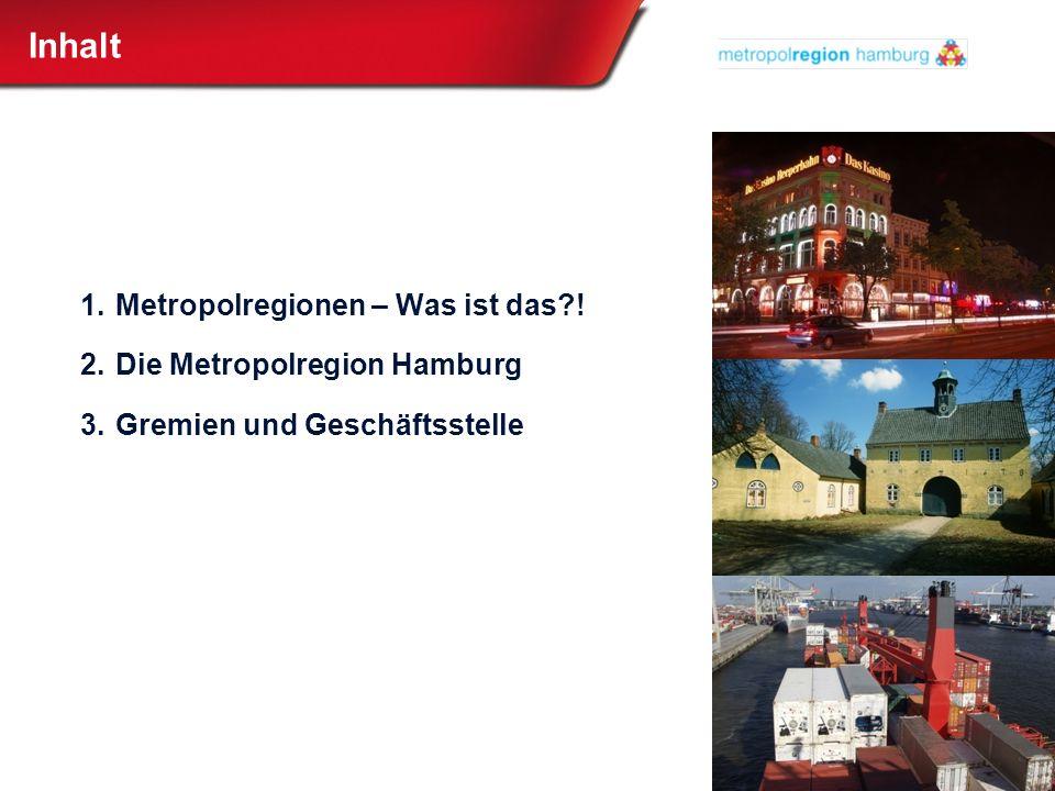 Inhalt 1.Metropolregionen – Was ist das?! 2.Die Metropolregion Hamburg 3.Gremien und Geschäftsstelle