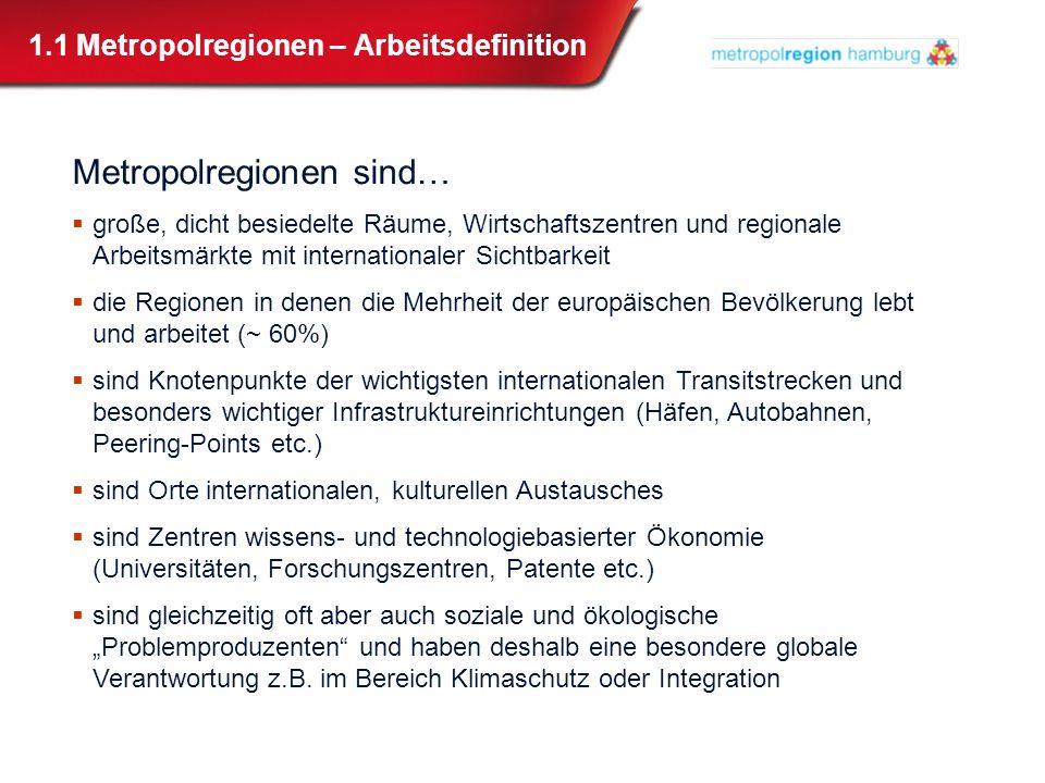 1.2 Globalisierung, Regionalisierung, Hamburg Globalisierung führt zu Regionalisierung Jede Region muss sich der Globalisierung stellen Größe macht den Unterschied.