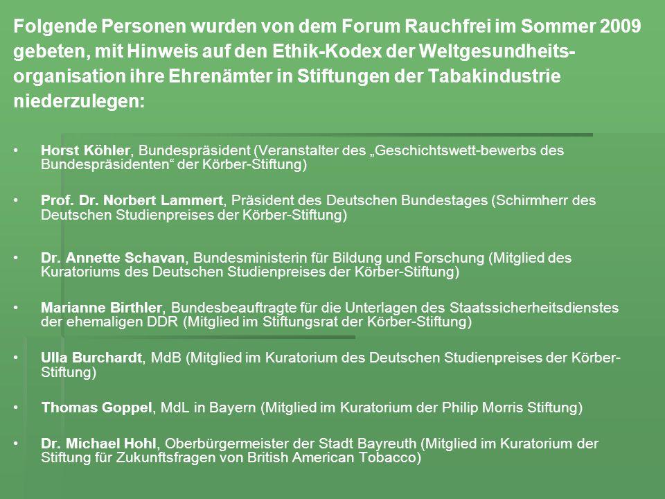 Folgende Personen wurden von dem Forum Rauchfrei im Sommer 2009 gebeten, mit Hinweis auf den Ethik-Kodex der Weltgesundheits- organisation ihre Ehrenä