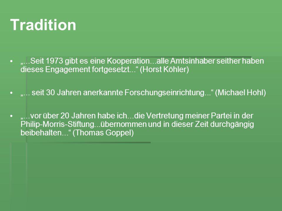 Tradition...Seit 1973 gibt es eine Kooperation...alle Amtsinhaber seither haben dieses Engagement fortgesetzt... (Horst Köhler)... seit 30 Jahren aner