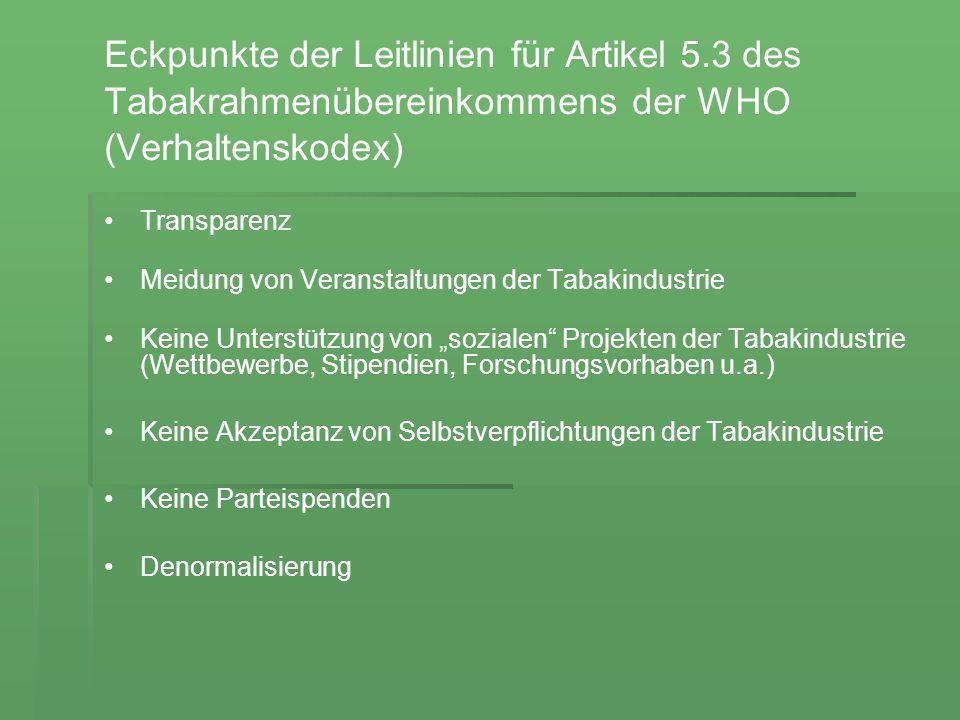 Eckpunkte der Leitlinien für Artikel 5.3 des Tabakrahmenübereinkommens der WHO (Verhaltenskodex) Transparenz Meidung von Veranstaltungen der Tabakindu