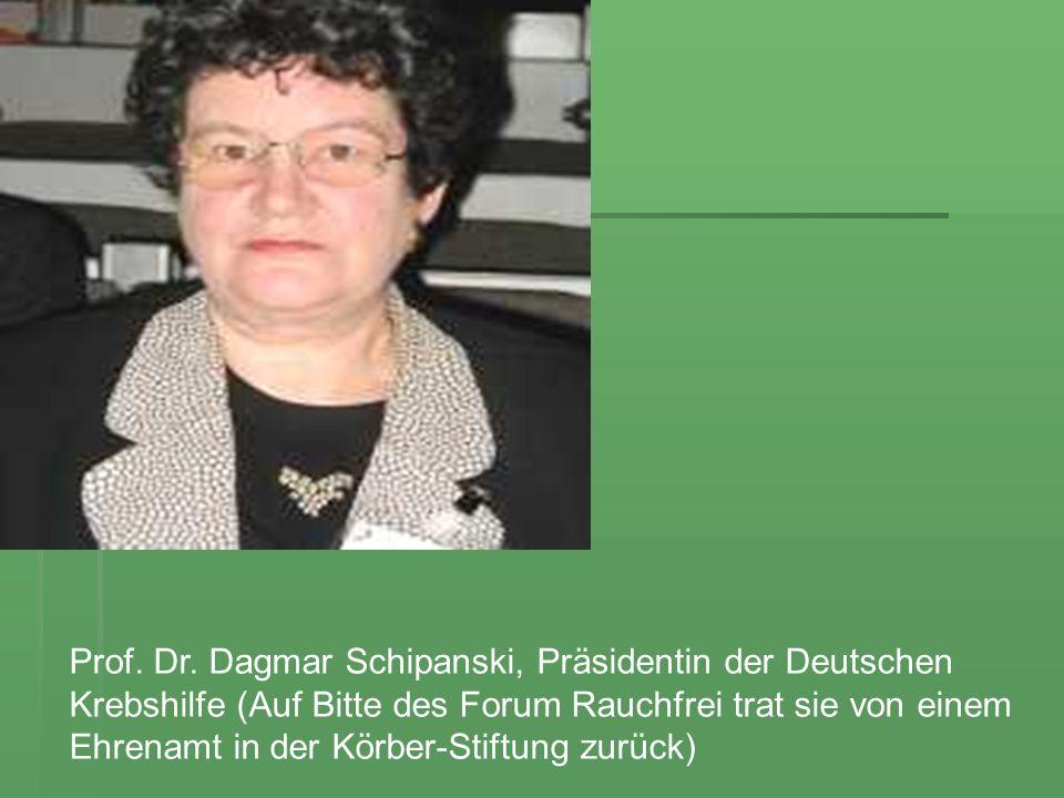 Prof. Dr. Dagmar Schipanski, Präsidentin der Deutschen Krebshilfe (Auf Bitte des Forum Rauchfrei trat sie von einem Ehrenamt in der Körber-Stiftung zu