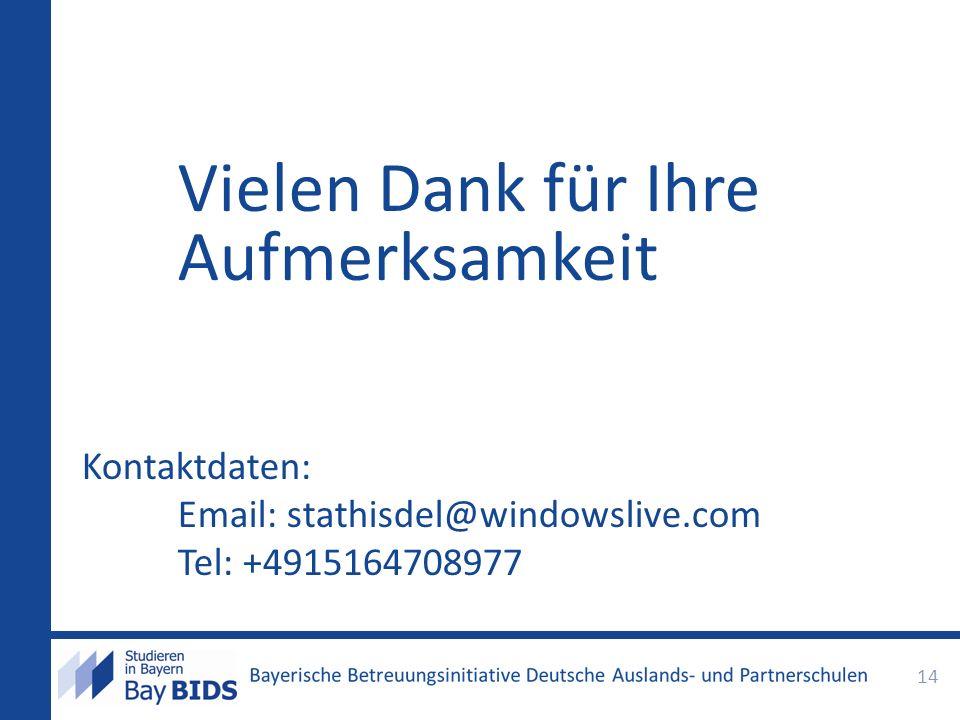 Vielen Dank für Ihre Aufmerksamkeit Kontaktdaten: Email: stathisdel@windowslive.com Tel: +4915164708977 14