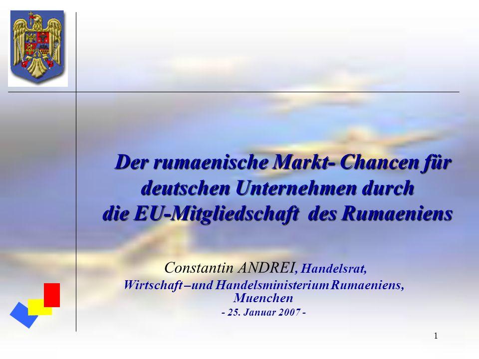 1 Der rumaenische Markt- Chancen für deutschen Unternehmen durch die EU-Mitgliedschaft des Rumaeniens Der rumaenische Markt- Chancen für deutschen Unt
