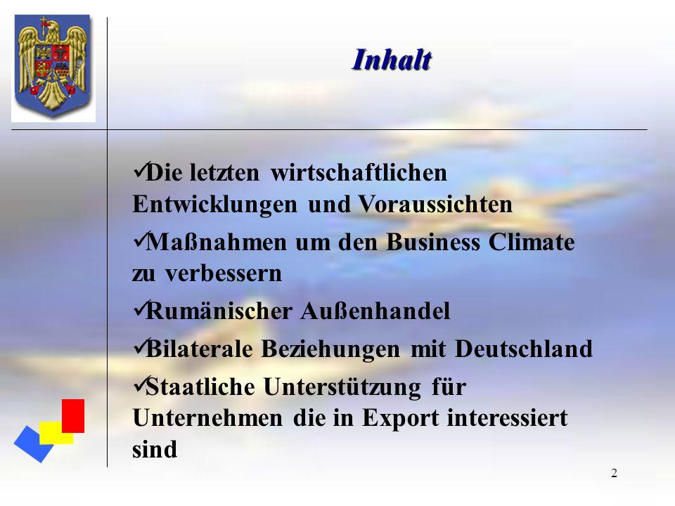 2 Inhalt Die letzten wirtschaftlichen Entwicklungen und Voraussichten Maßnahmen um den Business Climate zu verbessern Rumänischer Außenhandel Bilatera