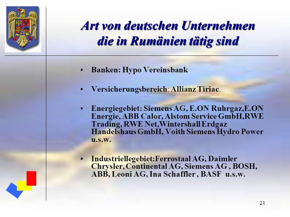 21 Art von deutschen Unternehmen die in Rumänien tätig sind Banken: Hypo Vereinsbank Versicherungsbereich: Allianz Tiriac. Energiegebiet: Siemens AG,