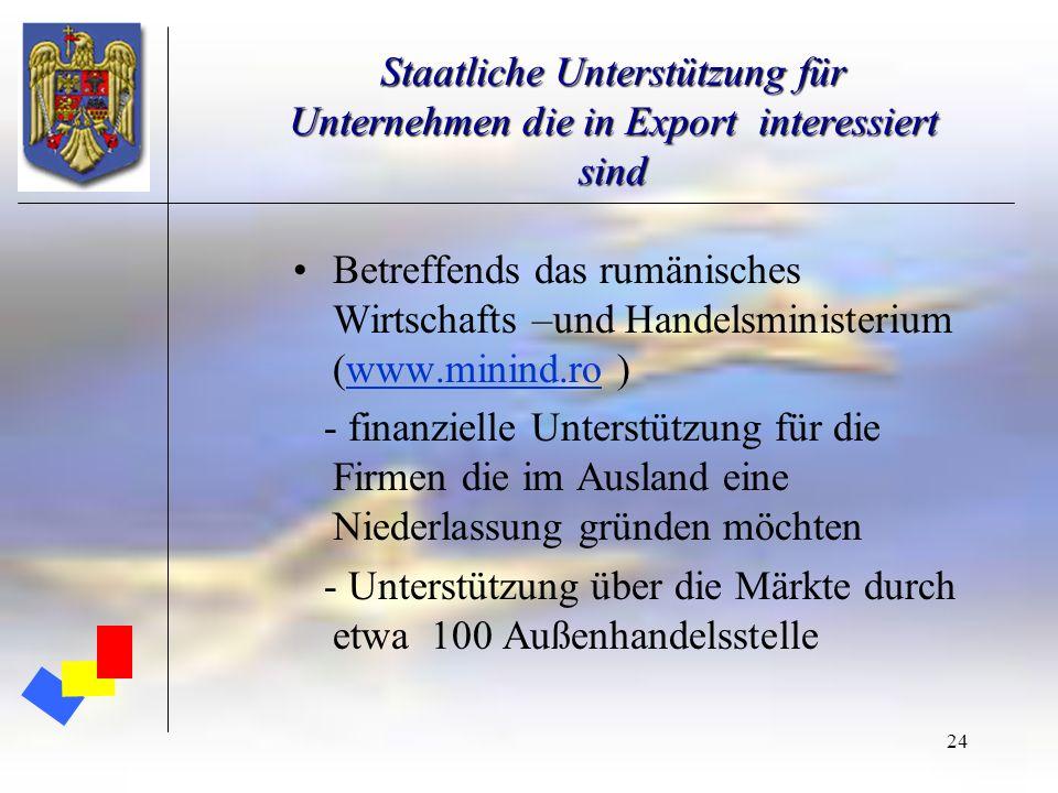 24 Staatliche Unterstützung für Unternehmen die in Export interessiert sind Betreffends das rumänisches Wirtschafts –und Handelsministerium (www.minin